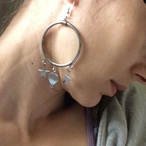 Vintage Jewelry - BIG Circle Hoop Star Dangle Earrings